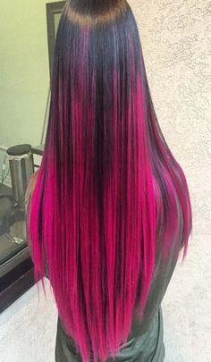 Pink and black hair color Pink And Black Hair, Bright Pink Hair, Black Hair Ombre, Blond Ombre, Ombre Hair Color, Cool Hair Color, Red Ombre, Fucsia Hair, Mermaid Hair