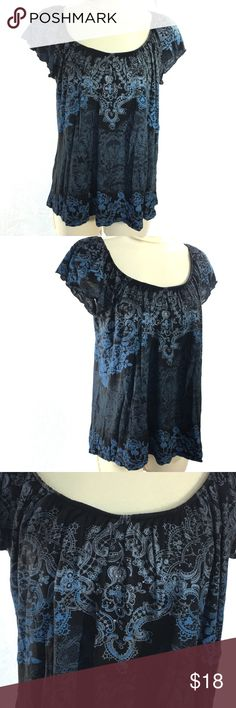 f48c7a2fd9e Boho Blingy Top Blue Black Gray Vanilla Sugar Vanilla Sugar Womens Medium  Top   Shirt