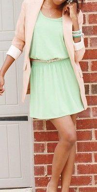 Light pink jacket and light green dress.