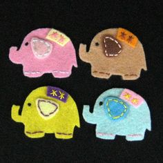 Handmade elephant felt appliques ASSORTED by aprilgirlsgallery