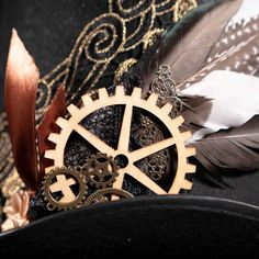 Steampunk Top Hat, Steampunk Fashion, Half Mask, Steampunk Accessories, Cogs, Gold Lace, Feather, Masks, Glasses