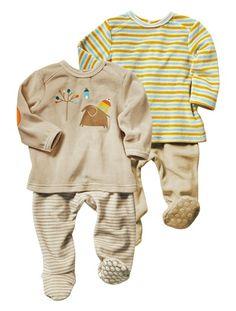 15€ Lote de 2 pijamas de 2 prendas bebé niño GRIS CLARO LISO