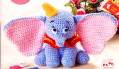 Elephant Dumbo amigurumi With Crochet Pattern recipe: necklace Red, make a chain of 30pc, join with the first PC to create a ring. 1: 2...