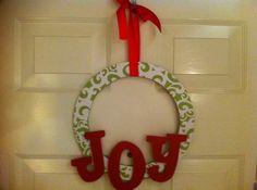 Joy Christmas wreath  $35.00 on Etsy.
