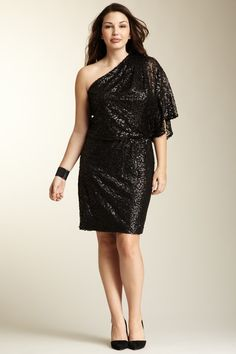 f1318d30ba9 Jessica Simpson One Shoulder Sequin Dress - Plus Size  39.00 Plus Size  Chic