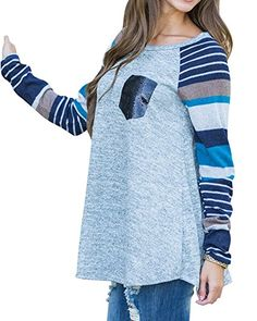 Poulax Women's Cotton Knitted Long Sleeve Lightweight Tunic Sweatshirt Tops at Amazon Women's Clothing store: