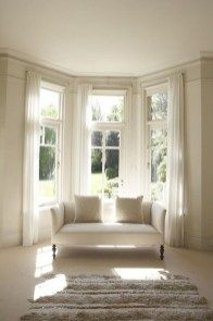 Bay Window Ideas - Search images of living area bay window. Find ideas and also motivation for living space bay window to contribute to your own house. Bay Window Bedroom, Bay Window Decor, Bay Window Living Room, Curtains Living Room Bay Window, Curtains Bay Windows, Rideaux Du Bow Window, Bay Window Dressing, Bay Window Treatments, Window Coverings