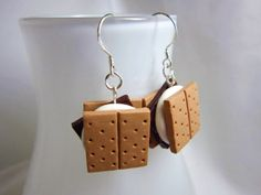 Kawaii Smores Polymer Clay Dangle Earrings xD love these!