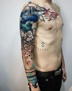 Creative abstract watercolor sleeve by Scady Alyona