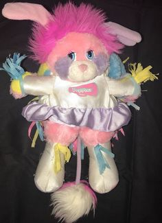 Popples Cheerleader Plush Stuffed Animal Vintage 1987 Toy Pom Poms Mattel Pink #Mattel