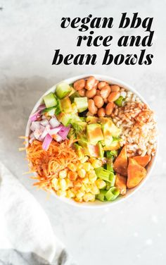 Try these vegan BBQ rice and bean bowls for dinner tonight! They feature baked BBQ tofu, homemade BBQ sauce, pinto beans, veggies, avocado and brown rice. High in protein, fibre, healthy, filling and delicious.