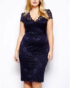 Bodycon Floral Lace Plus Size Slim Pencil Dress (PLUS SIZE)