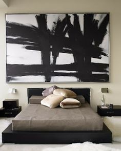 Who wouldn't love a Franz Kline (ish?) hanging over their bed?