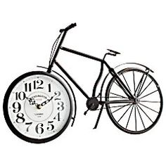 Antiqued Black Bicycle Clock from Pier 1 imports. Saved to Home And Decor. Shop more products from Pier 1 imports on Wanelo. Decorative Accessories, Home Accessories, Bicycle Clock, Library Themes, Desk Clock, Alarm Clock, Home Decor Furniture, Inspired Homes, Household Items