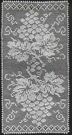 Filet Crochet Table Runner Grapes
