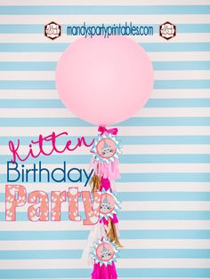 Large Balloon with Tassels from a Kitty Cat Birthday Party | Mandy's Party Printables | Kitten Birthday | Cat Birthday #kittenbirthday #catbirthday #girlspartyideas #pinkbirthday
