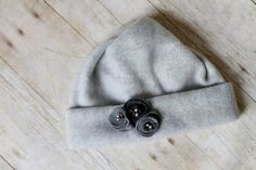 Gray Fleece Flower Hat by MilliesFrillies on Etsy, $12.00