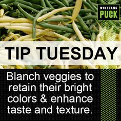 #TipTuesday: Cooking vegetables briefly in boiling water, then cooling them quickly by plunging them into ice water is a great technique for bringing out the bright colors of a vegetable and bringing both its taste and texture close to their peak.