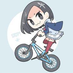 """Anna Ijiri   """"ずっとまえから描きたいなあって思ってたあんたんと自転車、BMXとか似合いそうだよね~って思って描いたけど、絶対ママチャリの方が100億倍は似合うだろうということに描き終わってから気づいたよ…"""""""
