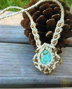 Macrame Necklace // Amazonite Teardrop + Matte Gold Plated Beads // Organic Hemp Jewelry by PinealVision $39.20