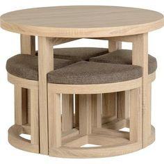 Round Dining Table & 4 Chairs Set Sonoma Oak Breakfast Space Saving Furniture for sale online Wooden Furniture, Home Furniture, Coaster Furniture, Industrial Furniture, Industrial Lamps, Furniture Plans, Vintage Industrial, System Furniture, Pallet Furniture Designs