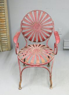 Antique Francois Carre Garden Chair Sunburst By Stonehousevintage Chairs Tulips Metal Furniture