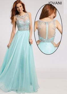 2015 Jovani 80862 Elegant Mint Beaded High Neckline Chiffon Prom Gown