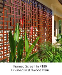 latticestix.com Large Framed Screen in P280 in Redwood Stain need this in front of the house.... two half-sized screens on either side of the specimen plant which will sit underneath the kitchen window =)