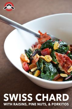 Swiss Chard with Raisins, Pine Nuts, and Porkitos by Michelle Tam http://nomnompaleo.com