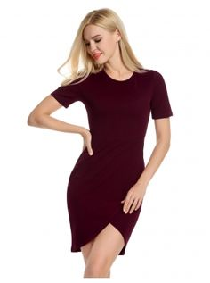 Wine red Short Sleeve Cross Bodycon Business Casual Dress