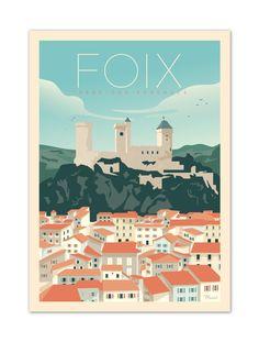 €25 . Affiche illustration originale Foix . Papier 350g/m² Couché Mat