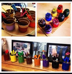 Writing utensil organization by colour (pencil crayons, markers & crayons)