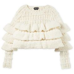 CROPPED LAYERED WOOL SWEATER ❤ liked on Polyvore featuring tops, sweaters, cut-out crop tops, white sweater, double layer top, white wool sweater and layered sweater