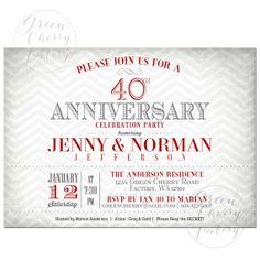 Festive 40th Anniversary Party Invitation Red Wedding