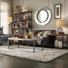 Create an industrial chic living room when you choose this rustic occasional table from Tribecca Home. This spacious table has plenty of space for your favorite coffee table books, a vase of fresh flo Chic Living Room, Home And Living, Living Room Furniture, Living Room Decor, Modern Living, Table Furniture, Industrial Chic Decor, Industrial Living, Industrial Furniture