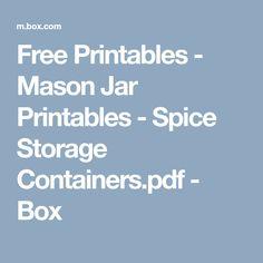 Free Printables - Mason Jar Printables - Spice Storage Containers.pdf - Box