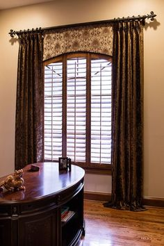 Tailored arched bottom valance; decorative hardware; Study