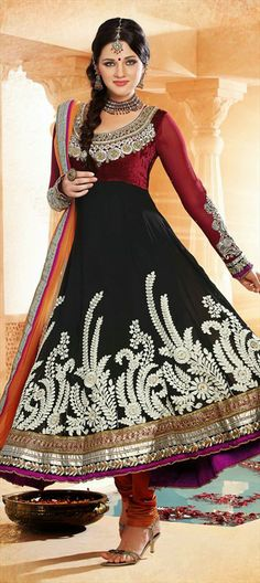 $109  Anarkali Suits, Georgette, Machine Embroidery, Sequence, Resham, Zari, Thread, Lace, Black and Grey Color Family