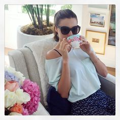 「M O N D A Y ☕️ My new mini mug collection from www.royalalbert.com #MirandaKerrForRoyalAlbert」
