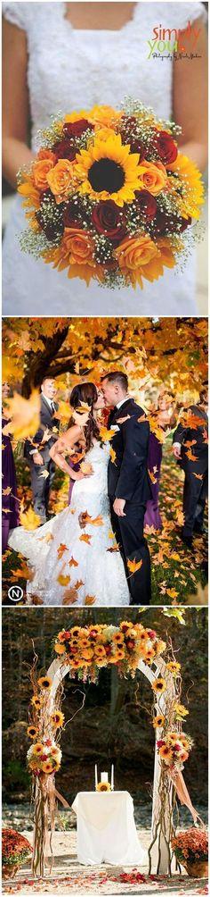 New Ideas October Wedding Colors Sunflowers Trendy Wedding, Perfect Wedding, Fall Wedding, Rustic Wedding, Our Wedding, Dream Wedding, Autumn Weddings, Wedding Night, Luxury Wedding