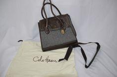 Cole Haan Womens Waterproof Flap Tote Wool Brooke Collection Purse Brown Gray #ColeHaan #ShoulderBag