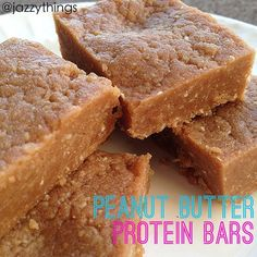 "Peanut butter protein bars: in a food processor, combine 3/4c oats, 3 scoops peanut butter marshmallow flavor (from Cellucor), 1c peanut butter, 1t butter extract, 1/3c honey, 1T coconut oil, and 2T unsweetened almond milk. Adjust the almond milk (more or less) until you get a thick, ""moldable"" texture. Press into an 8x8 pan and let sit in the refrigerator."