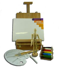 Savannah Table Easel Box Painting Set.    $120.00  http://arthousebroome.com.au/on-line-store/art-supplies/Paint/paint-sets/mat