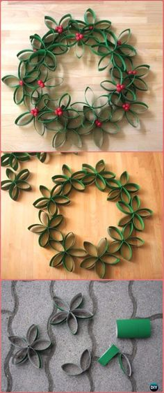 DIY TP Roll Christmas Wreath Tutorial – Paper Roll Christmas Craft Ideas & Projects Previous Post Next Post Recycled Crafts Kids, Crafts For Teens, Diy And Crafts, Kids Christmas, Christmas Wreaths, Christmas Decorations, Christmas Ornaments, Winter Wreaths, Spring Wreaths