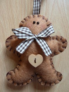 Cute Felt Gingerbread Man - Brown Bow