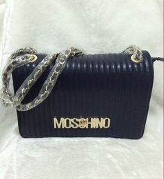 Moschino Quilted-skin Womens Leather Flat Satchel Blue 10eda8b6d56a6
