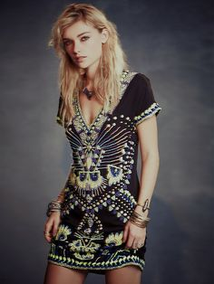Free People Echoing Ella Beaded Dress, $550.00
