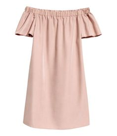 Powder pink. Off-the-shoulder, straight-cut dress in woven modal-blend fabric with elastication at upper edge and short, flared sleeves. Unlined.