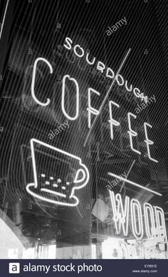 Download this stock image: Coffee shop neon sign, shot on black and white film - eyb91e from Alamy's library of millions of high resolution stock photos, illustrations and vectors.