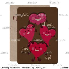 Cheering Pink Hearts | Valentine's Day Card